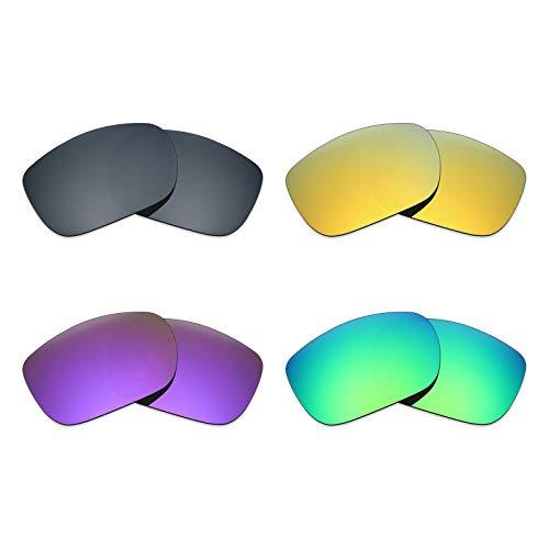 MRY 4Paar Polarisierte Ersatz Gläser für Oakley Twoface sunglasses-black Iridium/24K Gold/Plasma violett/Smaragd Grün
