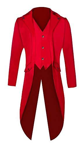 e Frack Steampunk Gothic Jacke Viktorianischen Langer Mantel Fasching Karneval Cosplay Kostüm Smoking Jacke Uniform (Rot, L) ()