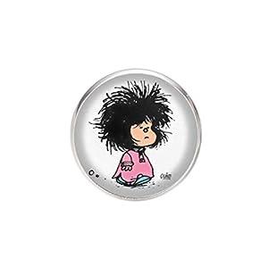 Edelstahl Brosche, Durchmesser 25mm, Stift 0,7mm, handgemachte Illustration Mafalda