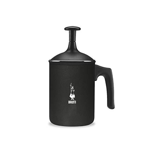 Bialetti Tutto Crema Milchaufschäumer 6 Tassen mit Doppelsieb für Einen stabilen Milchschaum, 1 L, schwarz