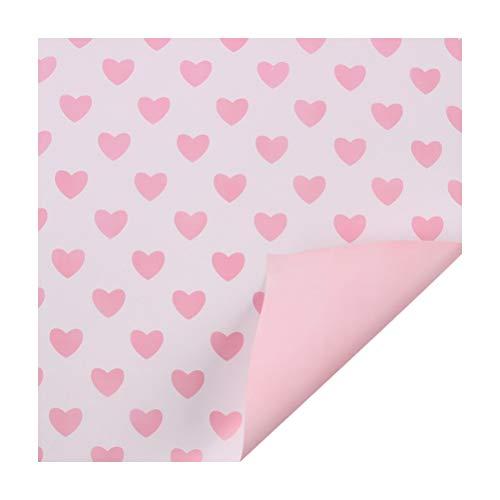 Toyvian 10pcs Blumen-Geschenkpapier-Rosa-Herz-Muster-Blumenstrauß-Geschenkverpackung für Hochzeits-Geburtstag - weißer Hintergrund