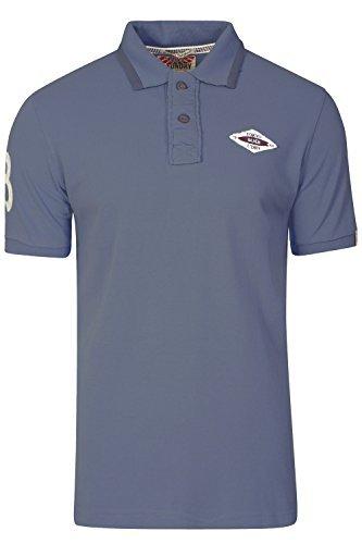 Herren Tokyo Laundry Heidelburg Polohemd Designer Kragen PIQUET T-SHIRT TOP - Heidelburg vintage indigo, S (Filz-logo-t-shirt)