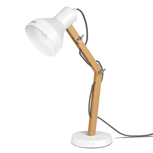 Tomons Lampe de Table Décoration, Lampes de lecture, Design pour Bureau et Table de Chevet, Salon, en Bois, ampoule LED, Blanche