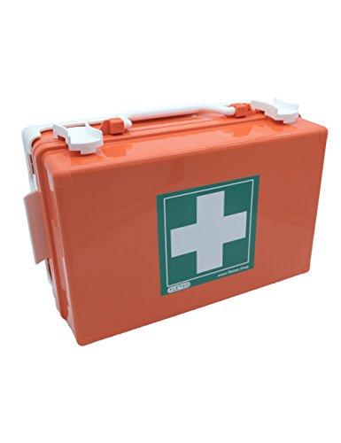 FLEXEO Erste-Hilfe-Kasten Verbandkoffer für Wandmontage, in orange, leer, ohne Befüllung, mit Wandhalterung