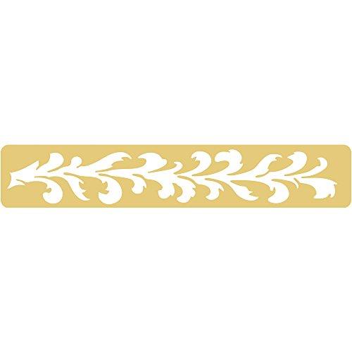 Rayher 2816700 Embossing-Schablonen, 179x32 mm, SB-Btl. 1 Stück, Bordüre aus Arkantusblättern