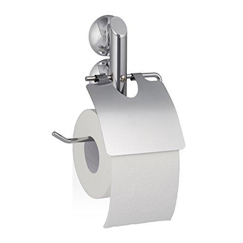 Relaxdays Toilettenpapierhalter ohne Bohren KNUTSCHI Saugnapf für Fliesen WC, HBT: 19 x 16 x 4 cm Klorollenhalter, silber