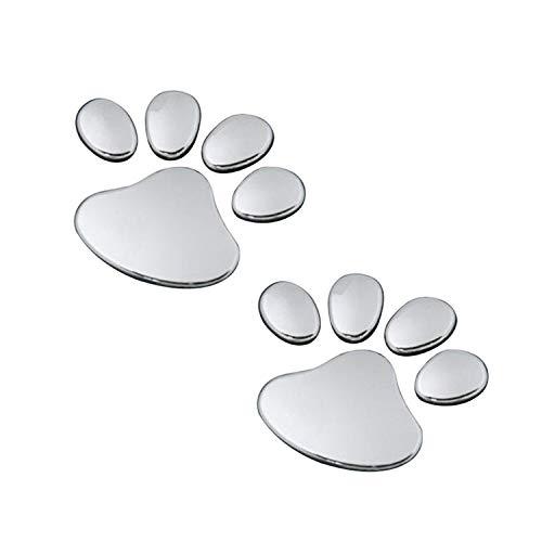 Ogquaton 2Pcs Adesivi per auto con stampa zampa di cane 3D in argento per decorazioni di bagni per veicoli Windows Utili e pratici