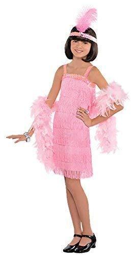 Mädchen rosa Pailletten Fransen 1920s Jahre Vintage Charleston-mädchen Kleid & Stirnband Kostüm Kleid Outfit 6-12yrs - Rosa, 8-10 Years