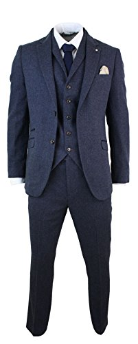 Mens-3-Piece-Wool-Blend-Herringbone-Tweed-Suit-Blue-Brown-Vintage-Tailored-Fit