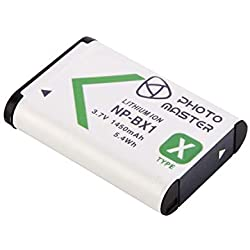 PHOTO MASTER NP-BX1 Batterie (1450mAh) pour Sony DSC-RX100 VII, DSC-RX100 VI, DSC-RX1R II, DSC-HX400V, DSC-HX350, DSC-HX99, DSC-HX80, DSC-HX60V, DSC-H400, DSC-WX500, HDR-AS10, HDR-AS15, HDR-AS30V