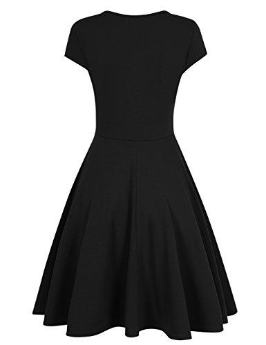 HiQueen-Women-A-Line-Dress-V-Neck-Short-Sleeve-Dress-34-Sleeve-Fit-Flare-Dress