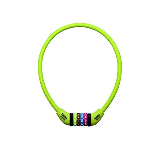 Büchel Kinder Fahrradkombinationsschloss Sekura KB208, 4stellig programmierbar, mit Überzug, hellgrün 60500208