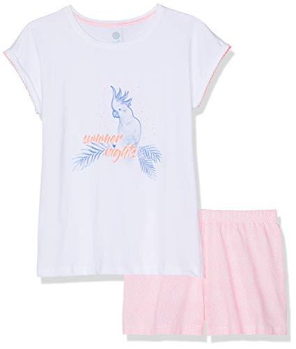 Weiße Kinder-schlafanzug (Sanetta Mädchen Zweiteiliger Schlafanzug Pyjama Short Weiß (White 10) 176)