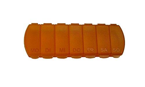 Kleine Pille-box (Pillendose für 7 Tage, Tablettendose von MaxBox, Pillenbox mit getrennten Fächern - orange)