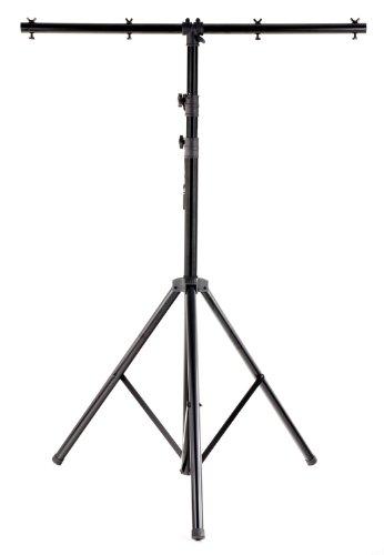 Showlite LS325 Lichtstativ mit Quertraverse (für Bühnen & Konzerbeleuchtung, für bis zu 4 Scheinwerfer, 1,45m-3,25m, max. Traglast: 50 kg) (Schwarz Licht Scheinwerfer)