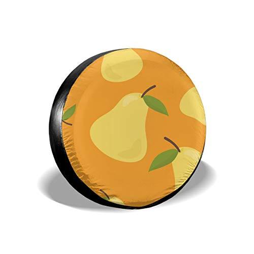 Sula-Lit Copricerchi per Pneumatici e Ruote Colorati, Disegnati a Mano, con Motivo a Pera, per Jeep, Camper, SUV, Accessori di Protezione per Ruote da 38,1 cm