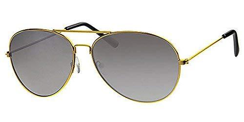 Eyewear World Sonnenbrille, goldfarbener Metallrahmen, Schwarze Gläser, mit gelber Kordel