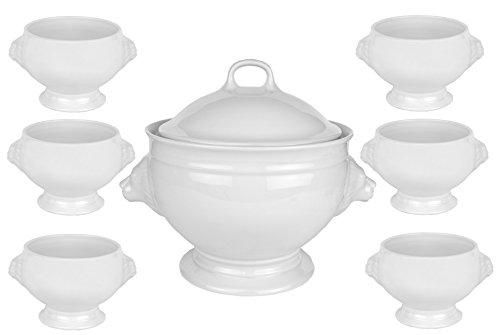 Van Well Löwenkopf Suppenterrine mit Deckel, 2.750 ml + 6 Suppenschalen, 400 ml, königliches Designer Suppenschalen Set, 8-tlg., edles Markenporzellan