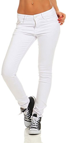 Fashion4Young 4345 Damen Hose Röhre Skinny Treggings Slim Fit Jeans Stretch Denim Übergrößen Slimline (weiß, XL-42)