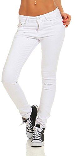 Fashion4Young 4345 Damen Hose Röhre Skinny Treggings Slim Fit Jeans Stretch Denim Übergrößen Slimline (weiß, S-36) -