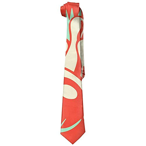 Wfispiy Bowling Ball Vintage Art Polyester Neckwear Silk Neck Tie, Men's Cool Personalized Classic Neckties,Graduation Meeting Business Casual Skinny Ties