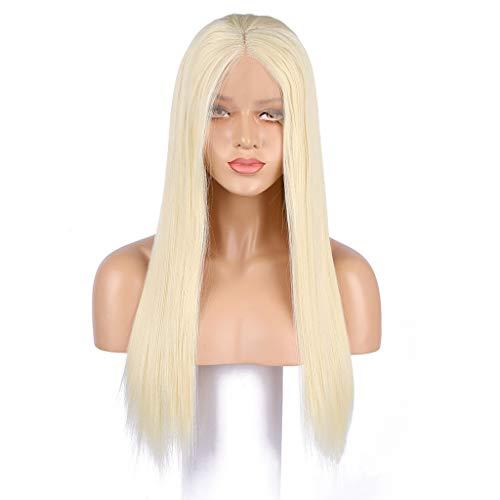 MLMFJF Goldene Lace Front Perücke Hohe Qualität Lange Haare Perücke Kappe Natürliche Gerade Synthetische Haar Weibliche Hälfte Hand Hitzebeständige Sicherheit 24 Zoll Kleid Party Erweiterte Perücke