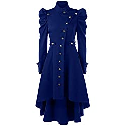 Logobeing Abrigo Invierno Mujer,Chaqueta Retro de Mujer Steampunk de Abrigo Largo para Mujer Abrigo Largo Gótico Retro Originales Elegantes Tops (M, Azul)