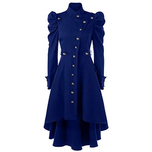 Winter Kostüm Damen - MYMYG Damen Winterjacke Winter Warme Vintage Steampunk Long Mantel Gothic Mantel Retro Jacke Hoodie Sweatshirt Kapuzenpullover Mit hohem Pulloverkleid Hooded (Blau,EU:36/CN-M)