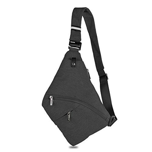 DAFROH Sling Rucksack Multi-Pocket Crossbody Brusttasche Herren Schlank Rucksack Leinwand Chest Pack für Mann Schwarz -