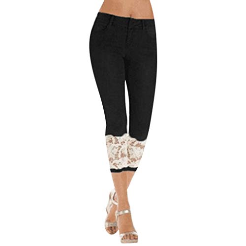 WOZOW Jeans Damen Capri Jeanshose Distressed Patchwork Spitze Lace Cuff Röhrenjeans Solid Einfarbig Casual Long Dünn Skinny Slim Stretch Freizeithose Stoffhose Tapered Trousers (M,Schwarz) -