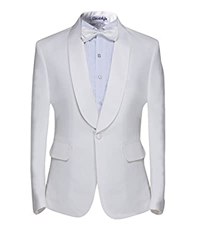 Men's dinner jacket White Tuxedo Jacket & Trousers - Black with shawl lapel