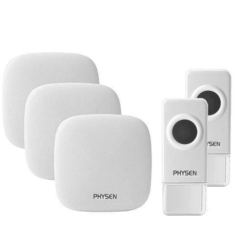 Preisvergleich Produktbild PHYSEN Modell-H1 Kabellose Türklingel mit 2 Wasserdicht Sender und 3 Empfänger, 300m Reichweite, 52 Klingelmelodien, 4-stufige Einstellbare Lautstärke,Keine Batterie Erforderlich für Empfänger