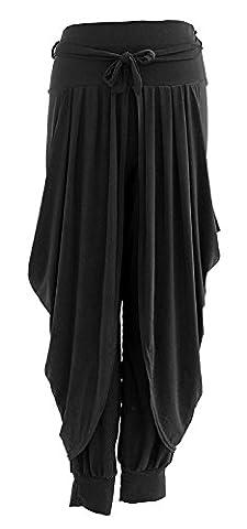 Sevello Clothing Ladies Womens Lagenlook Layering Dhoti Tie Drape Pleated Loose Baggy Boho Harem Ali Baba Trouser Pants Leggings Joggers One Size UK 8-16 (Black)
