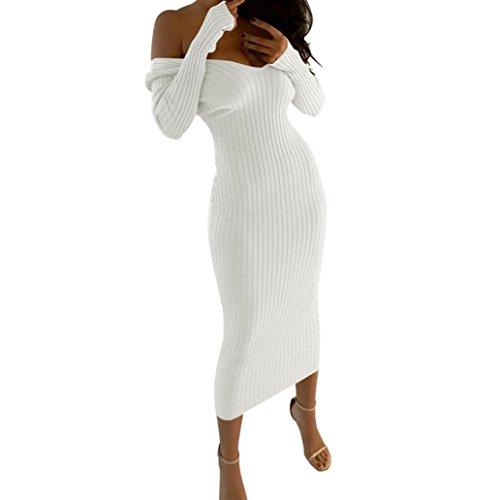 Hffan 2018 Damen Basic Langarm Elegant Braun Sexy Schwarz Mode Khaki Weich Weiß Kleider Super Weiches Rundhals Eng Slim Fit Freizeit Lang Frauen Täglich Atmungsaktiv Kleider(Weiß,X-Large)
