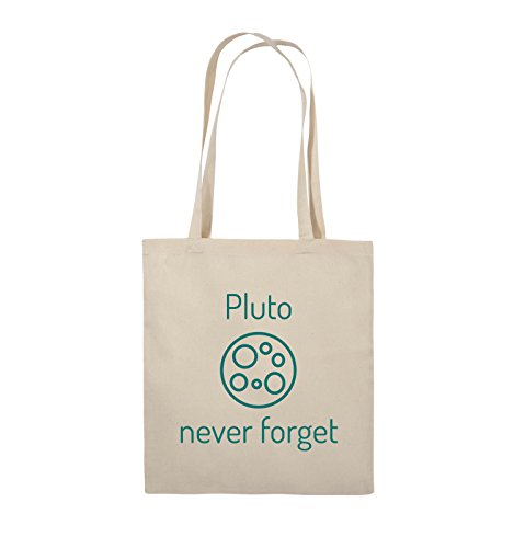 Comedy Bags - Pluto never forget - Jutebeutel - lange Henkel - 38x42cm - Farbe: Schwarz / Silber Natural / Türkis