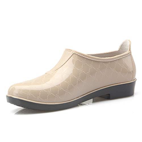 ZJOUJ Regenstiefel- Weibliche flachen Mund niedrig, um wasserdichte rutschfeste Stiefel zu helfen, gehen Sie in die Küche arbeiten regen Stiefel (Farbe : Khaki, größe : 23x8.4cm)