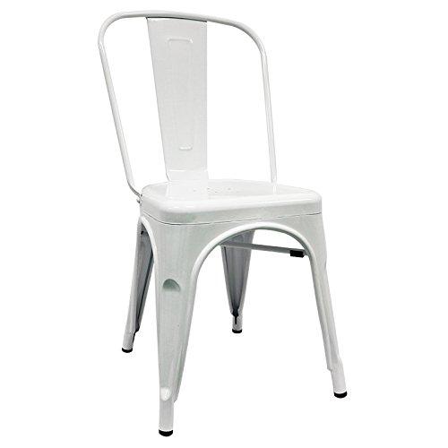 Silla Industrial - Silla metálica - Silla Metal Inspirada en Silla tolix pauchard - (Elige tu Color) (Blanca)