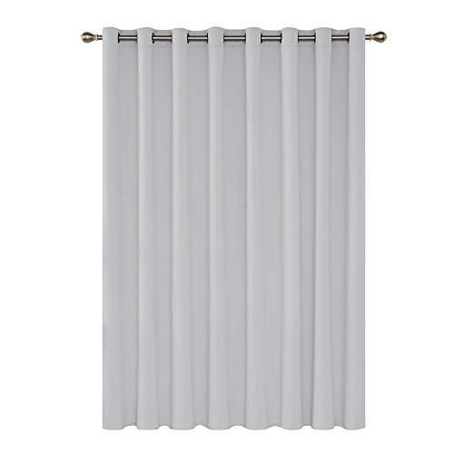 Deconovo tenda oscurante termica isolante per camera da letto moderna 254x213cm bianco grigiastro un pannello