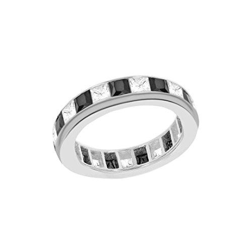 Tuscany Silver Ring Sterling Silber Schwarz und Weiß Zirkonia Kanalfassung Set Ewigkeit - Größe P (Ewigkeit Ringe Weiß Gold)