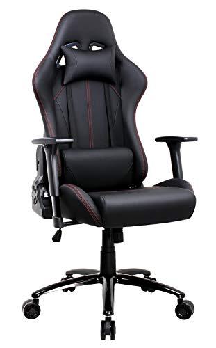 Amoiu Gamingstuhl, Racing Stuhl Sportsitz Schreibtischstuhl, Bürostuhl mit 3D verstellbaren Armlehnen, Hoch Rücken Ergonomische Drehstuhl mit Kopfkissen und Taillenstütze, Schwarz -