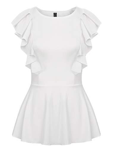 ANGGREK Damen Bluse Sommer Schößchen Oberteile Ärmellos Weste Elegant Shirt Tops mit Rüschen -