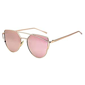 U.S. CROWN Cateye Mirror Women Men Sunglasses-(US-CROWN-018|57|Pink)