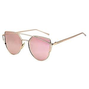 U.S. CROWN Cateye Mirror Women Men Sunglasses-(US-CROWN-018|57|Pink)