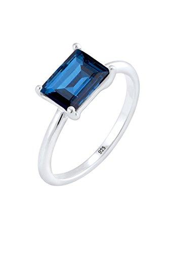 Elli Damen Echtschmuck Ring Bandring Solitär mit Swarovski Kristall blau Radiantschliff in 925 Sterling Silber