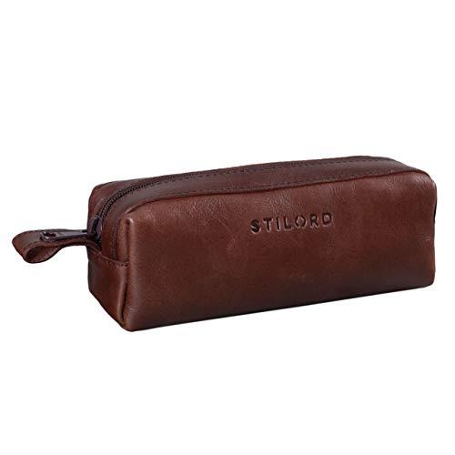 Stilord 'linus' astuccio in pelle grande portapenne portamatite portatrucco vintage per università scuola e ufficio uomo donna, colore:marrone - cioccolata