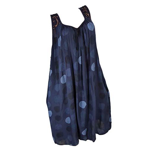 BOLANQ Damenmode Spitze Stitching Print äRmelloses Kleid (XX-Large, Marine-2)