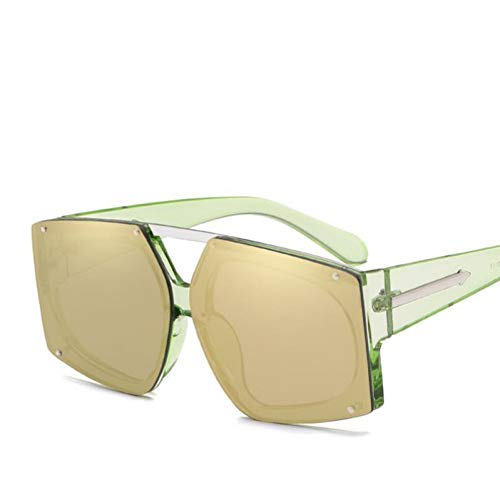 YOGER Sonnenbrillen Übergroße Sonnenbrille Silver Square Sonnenbrille Frauen Retro Big Frame Shades Female Pink