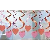 Rotorspiralen: Deckenhänger mit Herzen, 61 cm, 15er-Pack