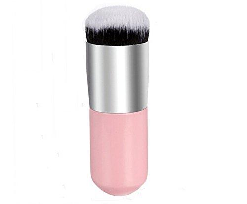 Kanggest Brochas De Maquillaje Profesional Portátil Cepillo Facial de Cabeza Redonda para Liquido Tradicionales y Fluidas Maquillaje Bases/Aplicación y Fundición de Bases de Maquillaje (Plata Rosa)