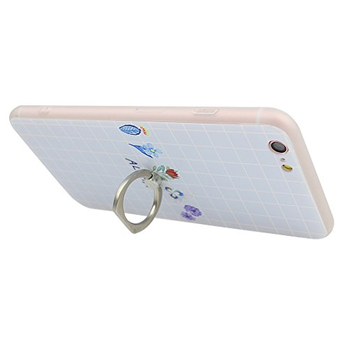 iPhone 6S Schutzhülle, Rosa Schleife Ultra Dünn Slim Case Cover Soft TPU Silikon Hülle Backcover für >                Apple iPhone 6S / iPhone 6                < in 3D Embossed Muster mit Ring Handy halterung und Full Screen Displ Elegant Blume